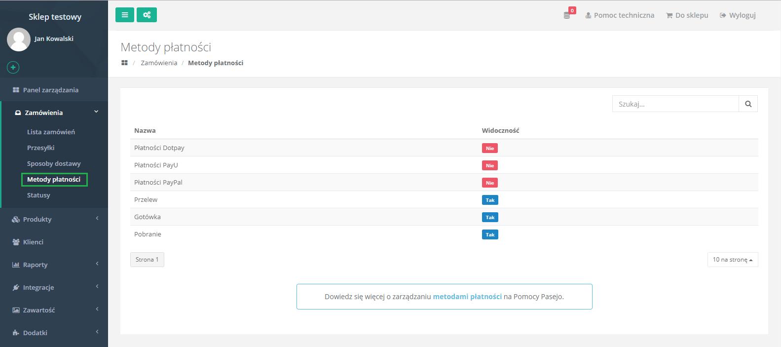 2fa5070bd214f8 Metody płatności - zarządzanie sklepem internetowym